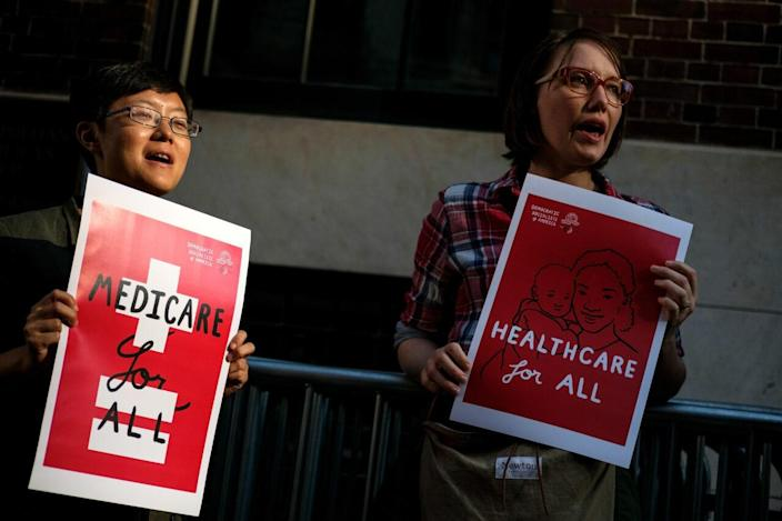 A small group of activists rally against the GOP health care plan outside of the Metropolitan Republican Club, July 5, 2017 in New York City. (Photo by Drew Angerer/Getty Images)