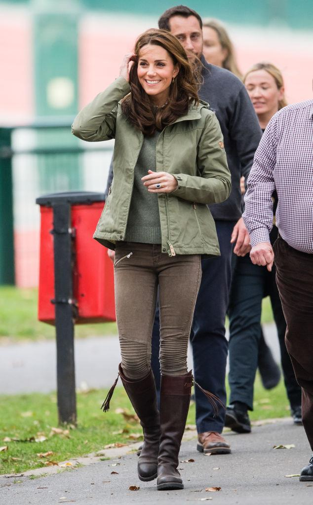 <p>The Duchess of Cambridge returned to work after five-month maternity leave on October 2. For a trip to Sayers Croft Trust, the royal wore a £175 khaki-hued jacket by Fjällrävennd with a £395 leaf-emblazoned Joseph blouse peeping beneath. The Duchess finished the look with her go-to Penelope Chilvers boots and favourite £135 Monica Vinader earrings to add a punch of colour. <em>[Photo: Getty]</em> </p>