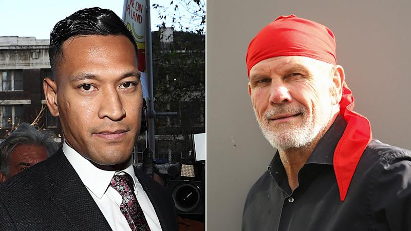 Pictured here, Peter FitzSimons (R) thinks Israel Folau's new legal claim is absurd.
