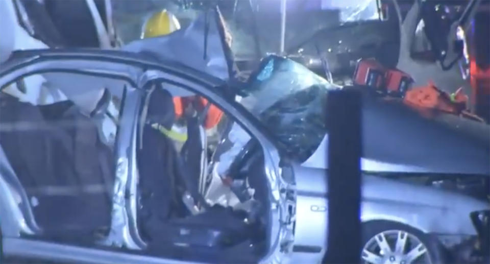 Six people were travelling in the sedan when it collided with the truck. Source: The Today Show
