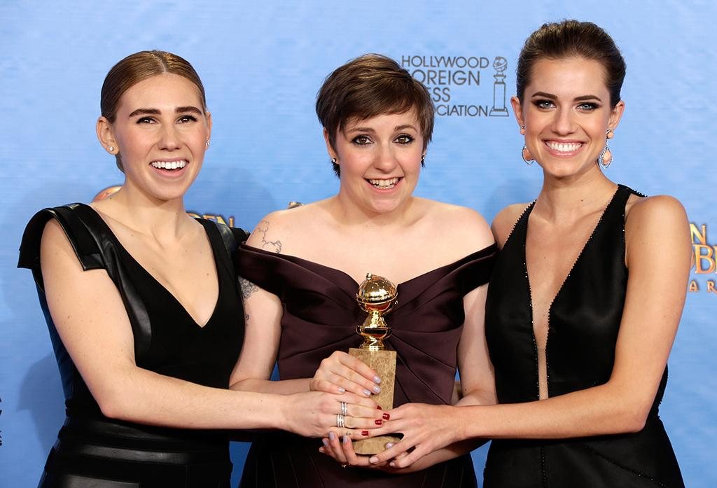 Zosia Mamet, Lena Dunham and Allison Williams pose in the press room at the 70th Annual Golden Globe Awards held at The Beverly Hilton Hotel on January 13, 2013 in Beverly Hills, California.