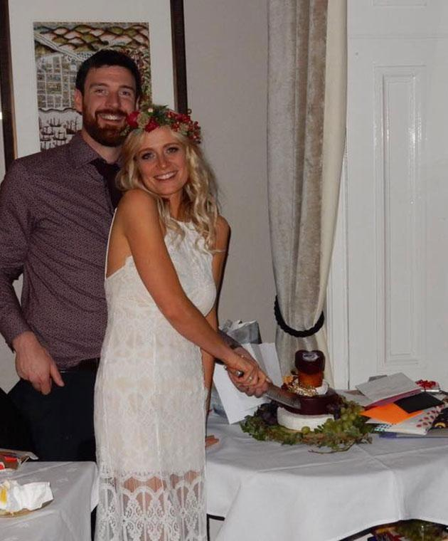 The wedding cake was a cheese tower. Photo: Facebook