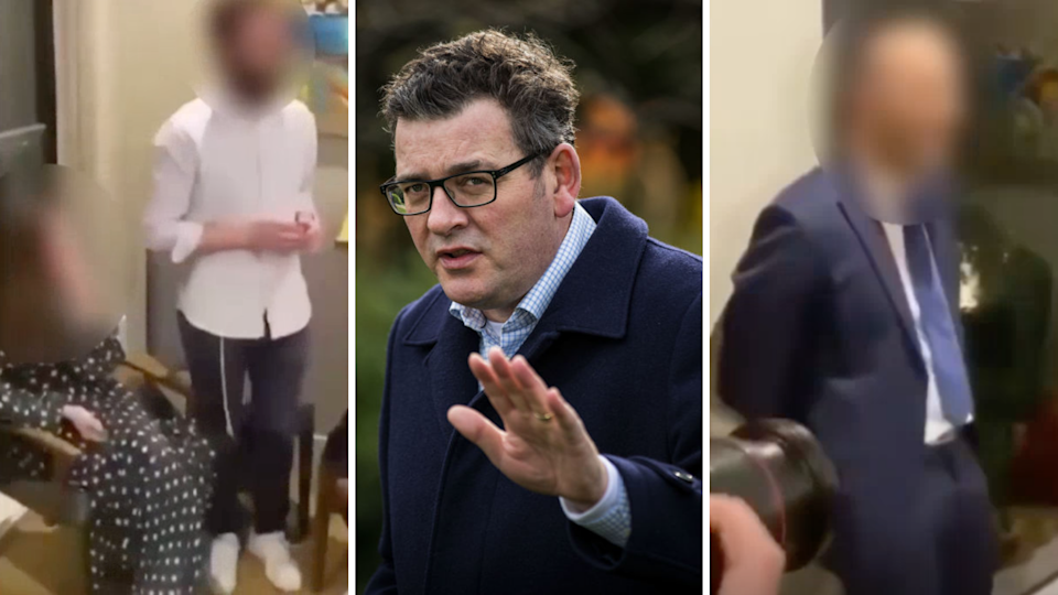 Image of Melbourne engagement partygoers with faces blurred and Victorian Premier Daniel Andrews