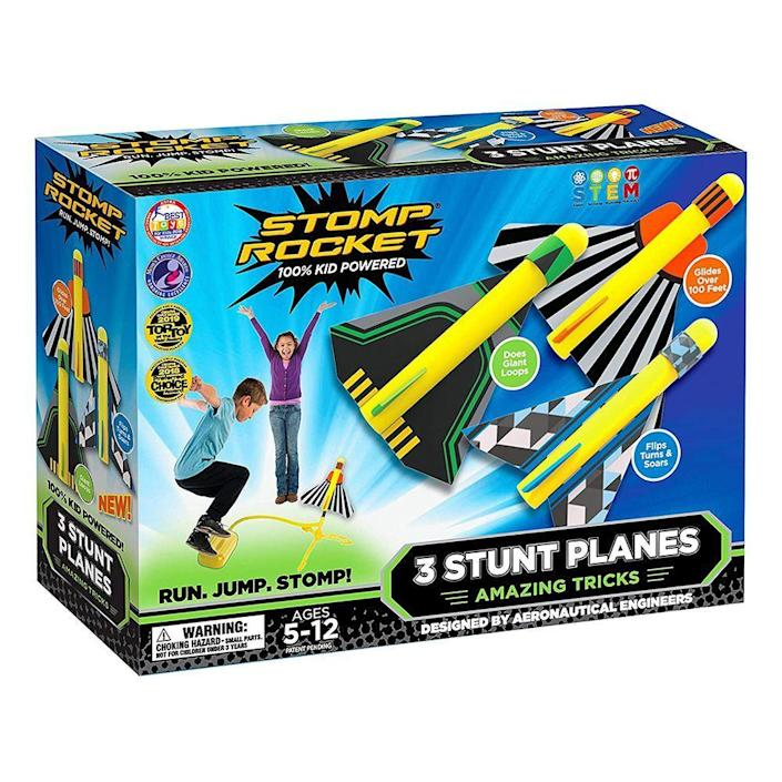 "<p><strong>Stomp Rocket</strong></p><p>amazon.com</p><p><strong>$29.99</strong></p><p><a href=""https://www.amazon.com/dp/B075VZJ7C2?tag=syn-yahoo-20&ascsubtag=%5Bartid%7C2089.g.1557%5Bsrc%7Cyahoo-us"" rel=""nofollow noopener"" target=""_blank"" data-ylk=""slk:Shop Now"" class=""link rapid-noclick-resp"">Shop Now</a></p><p>Your kiddos don't need any batteries, chargers, or annoying power sources to launch these rockets 200 feet into the air. The simple setup uses your kid's energy and stomping power to shoot up. They will have hours of fun watching the rockets soar high in the sky.</p><p>If, by chance, a few rockets launch over into the cranky neighbor's yard, you can purchase a <a href=""https://www.amazon.com/Stomp-Rocket-Planes-Refill-Glider/dp/B07SV6T7QN"" rel=""nofollow noopener"" target=""_blank"" data-ylk=""slk:few extra backup rockets"" class=""link rapid-noclick-resp"">few extra backup rockets</a>.</p>"