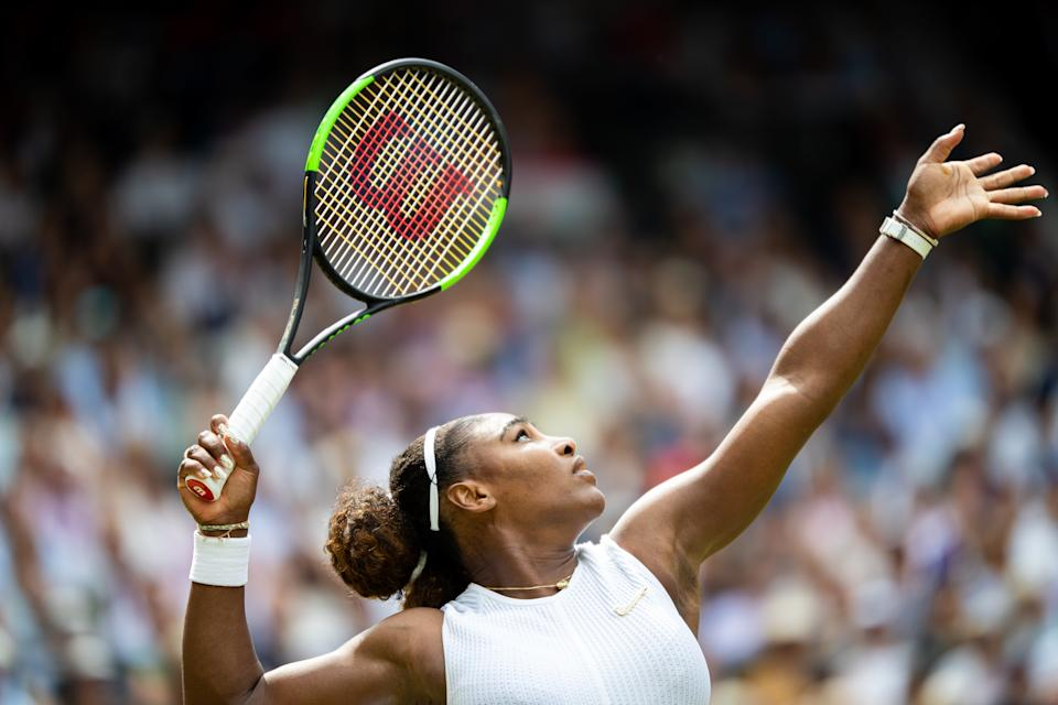 LONDON, ENGLAND - JULY 13: Serena Williams of USA in action during the Women's Singles Final against Simona Halep of Romania (not pictured) at The Wimbledon Lawn Tennis Championship at the All England Lawn and Tennis Club at Wimbledon on July 13, 2019 in London, England. (Photo by Simon Bruty/Anychance/Getty Images)