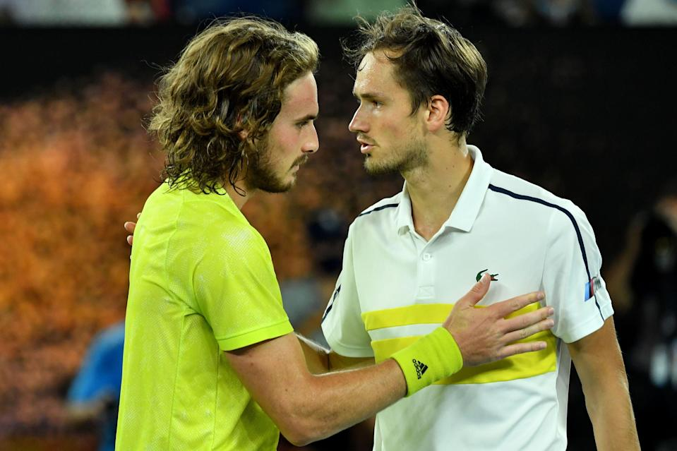 <p>Rivals Stefanos Tsitsipas and Daniil Medvedev meet at the French Open on Tuesday</p> (AFP via Getty Images)