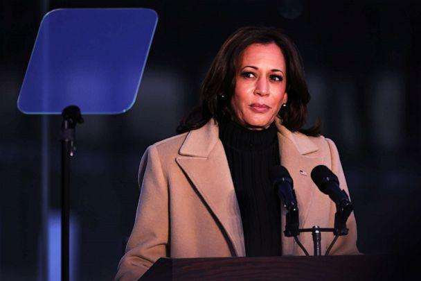 Vice President-elect Kamala Harris speaks at a memorial for victims of the coronavirus pandemic at the Lincoln Memorial on the eve of the presidential inauguration on Jan. 19, 2021 in Washington (Michael M. Santiago/Getty Images)