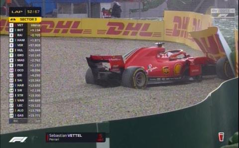 Vettel in the barriers - Credit: sky sports f1