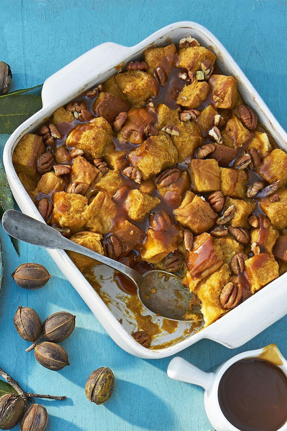 """<p>Bread pudding is already delightful, but the bourbon sauce puts this dish over the top.</p><p><strong><a href=""""https://www.countryliving.com/food-drinks/recipes/a45304/pumpkin-pecan-bread-pudding-recipe/"""" rel=""""nofollow noopener"""" target=""""_blank"""" data-ylk=""""slk:Get the recipe"""" class=""""link rapid-noclick-resp"""">Get the recipe</a>.</strong></p>"""