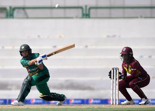 Pakistan's Sana Mir plays a shot during a Twenty20 match against the West Indies. Mir has become the most successful spinner in the history of women's one-day cricket (AFP Photo/ASIF HASSAN)