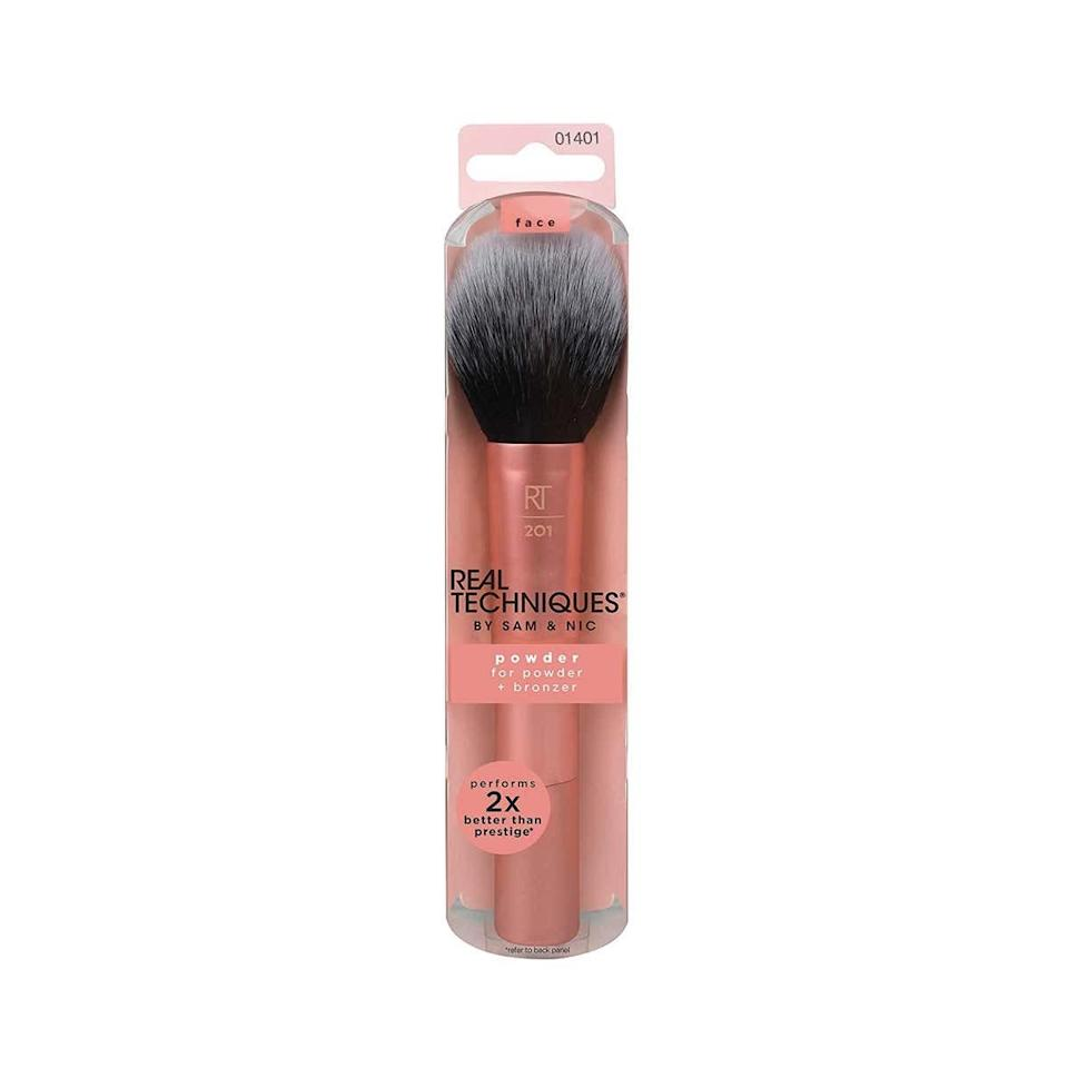 "<p><strong>Star Rating:</strong> 4.7 out of 5</p> <p><strong>Key selling points:</strong> This powder brush works wonders with powder and mineral foundations, bronzer, and blush, thanks to its large head for sheer application and smooth definition. It's a number-one bestseller, so it's no surprise that—aside from Amazon reviewers—some of YouTube's top beauty gurus have <a href=""https://www.youtube.com/watch?v=ptfwAP9G10A"" rel=""nofollow noopener"" target=""_blank"" data-ylk=""slk:sung its praises"" class=""link rapid-noclick-resp"">sung its praises</a>. </p> <p><strong>What customers say:</strong> ""I purchased this expecting to use it as a dust brush when I do my own acrylics, but it was much too nice for that, so it got promoted to my makeup vanity! It's huge and fluffy, and has a very nice handle. I use this for dusting translucent powder onto my face and blotting down setting spray as the last step in my makeup routine. I had never used/tried Real Techniques before, so the quality and softness of the bristles was a pleasant surprise. Would definitely buy more and recommend!"" —<a href=""https://amzn.to/3bbgy40"" rel=""nofollow noopener"" target=""_blank"" data-ylk=""slk:Barbie"" class=""link rapid-noclick-resp""><em>Barbie</em></a></p> $10, Amazon. <a href=""https://www.amazon.com/Real-Techniques-Powder-Bronzer-Coverage/dp/B004TSF8R4/ref=sxin_4_af-pna-1_41b3cc0c8a38a4151d354f3d3940d4852813226f"" rel=""nofollow noopener"" target=""_blank"" data-ylk=""slk:Get it now!"" class=""link rapid-noclick-resp"">Get it now!</a>"