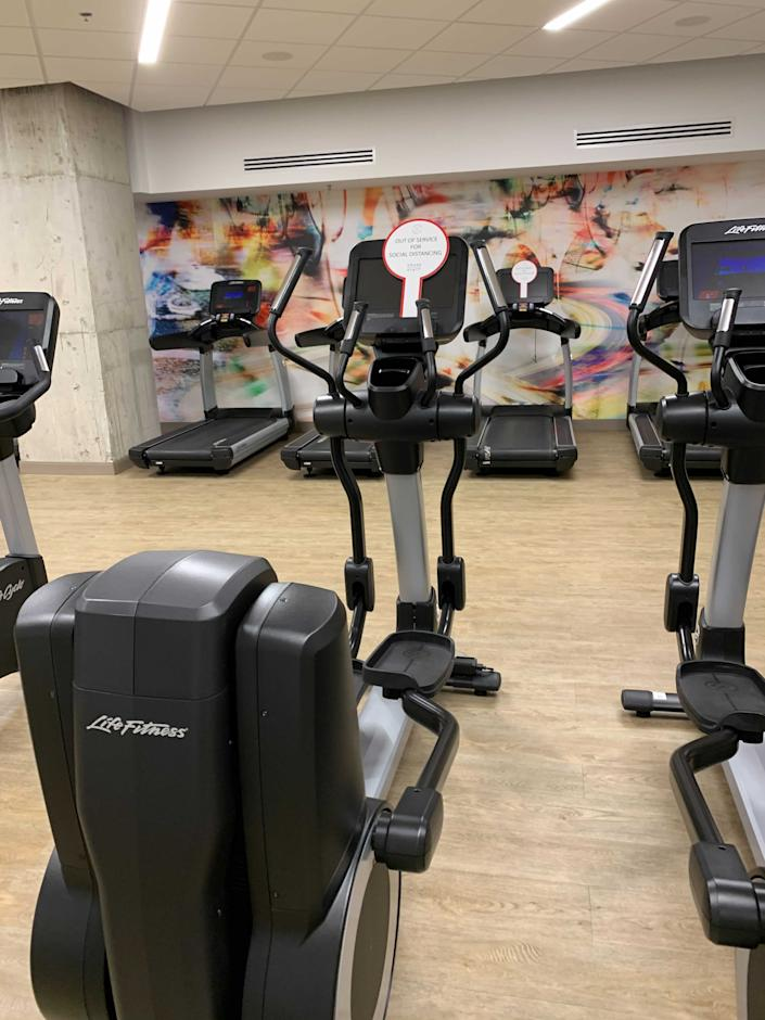 Gyms at Washington, D.C., hotels encouraged social distancing.