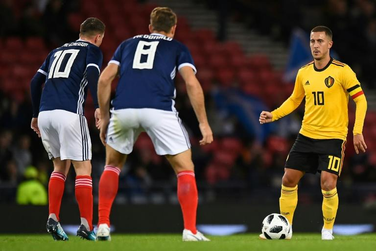 Eden Hazard (right) was part of a Belgium side that beat Scotland 4-0 on September 7, 2018