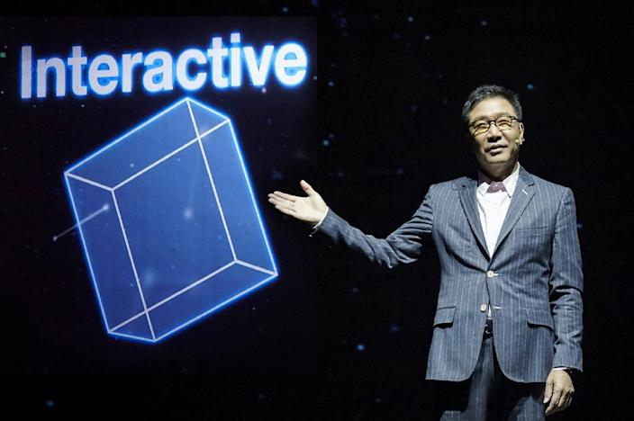 SM Entertainment's founder and producer Lee Soo-Man speaks at a presentation of 'SMTOWN: New Culture Technology, 2016' in Seoul on January 27, 2016 (AFP Photo/)