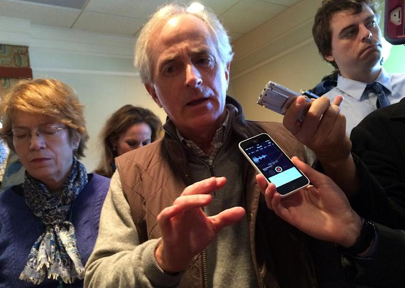 US Senate Foreign Relations Committee chairman Bob Corker briefs reporters about nuclear negotiations with Iran and other policy issues at a Republican congressional retreat on January 15, 2015, in Hershey, Pennsylvania