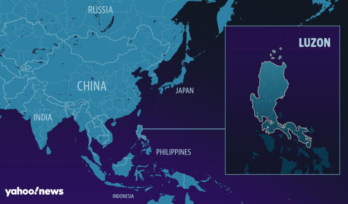 Map of Southeast Asia with the Philippines island of Luzon magnified
