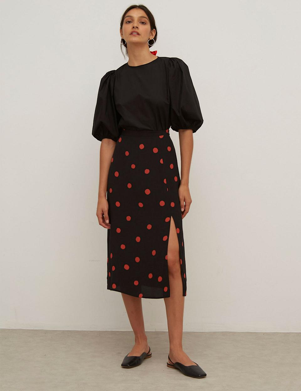 Polka Dot Side Split Midi A-Line Skirt (Nobody's Child/ M&S)