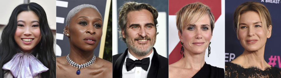 This combination photo shows, from left, Awkwafina, Cynthia Erivo, Joaquin Phoenix, Kristen Wiig and Renee Zellweger, who are among the first presenters announced for the Golden Globes awards ceremony. (AP Photo)