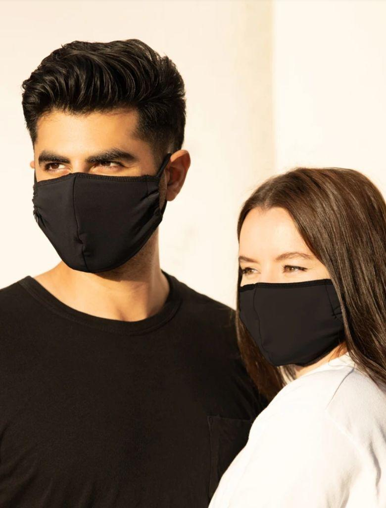 "This athletic face mask is made with upcycled activewear materials, including Spandex, for a stretchy and breathable fit. <a href=""https://fave.co/30swmdj"" rel=""nofollow noopener"" target=""_blank"" data-ylk=""slk:Find it for $24 at Onzie"" class=""link rapid-noclick-resp"">Find it for $24 at Onzie</a>."