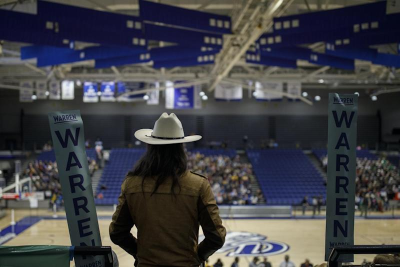 An attendee looks out at caucus attendees during a caucus event in the 68th precinct on February 3, 2020 at Drake University in Des Moines, Iowa, United States: Tom Brenner/Getty Images