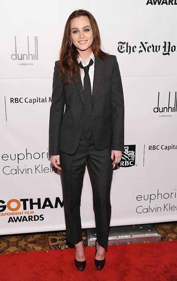 """Gossip Girl"" lead Leighton Meester took a major fashion risk (that totally paid off!) when she decided to don this chic Thom Browne suit to the 20th Annual Gotham Independent Film Awards. What do you make of her menswear-inspired look? Hot or not? Dimitrios Kambouris/<a href=""http://www.gettyimages.com/"" target=""new"">GettyImages.com</a> - November 29, 2010"
