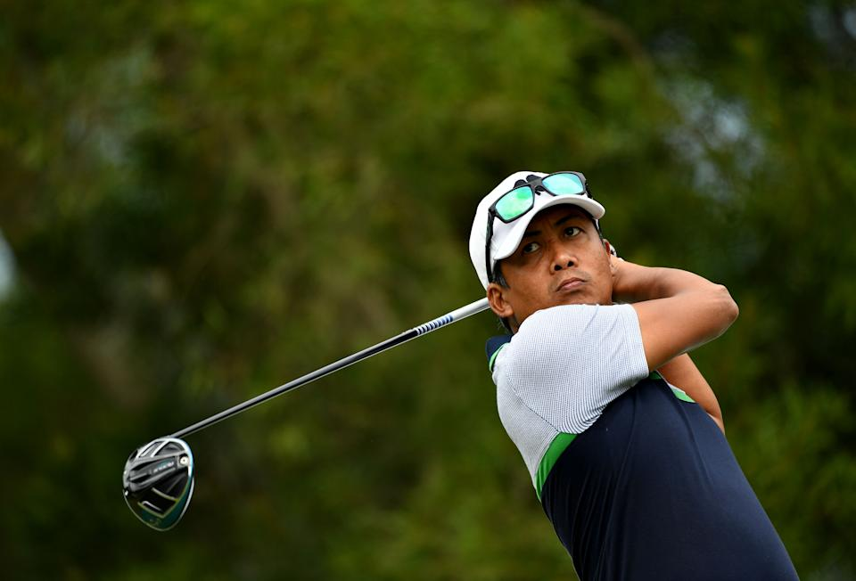 NEW TAIPEI CITY, TAIWAN - OCTOBER 06:  Juvic Pagunsan of the Philippines during the third round of the Yeangder Tournament Players Championship at the Linkou International Golf and Country Club on October 6, 2018 in New Taipei City, Taiwan.  (Photo by Paul Lakatos/Asian Tour/Asian Tour via Getty Images)
