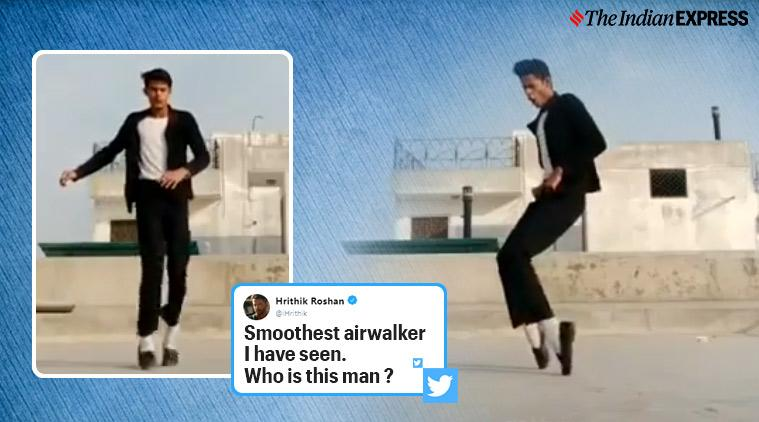 Hrithik Roshan, tiktok star, Hrithik Roshan tiktok star viral video, michael jackson, moonwalk tiktok stars viral video, michael jackson, trending, indian express,indian express news
