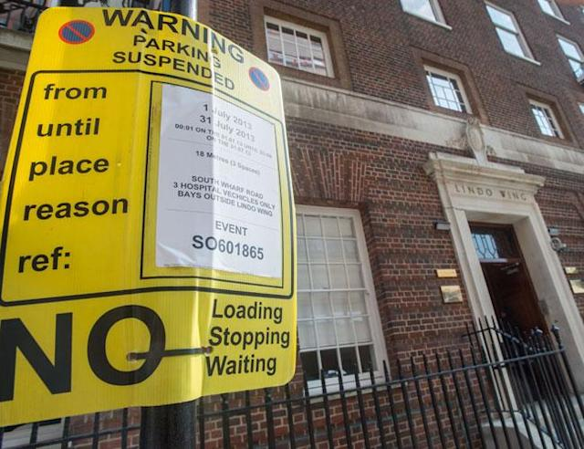 LONDON, UNITED KINGDOM - JULY 8: A parking suspension notice is seen outside the Lindo Wing of St Mary's Hospital as the UK prepares for the birth of the first child of The Duke and Duchess of Cambridge at St Mary's Hospital on July 8, 2013 in London, England. (Photo by Samir Hussein/WireImage) <br>