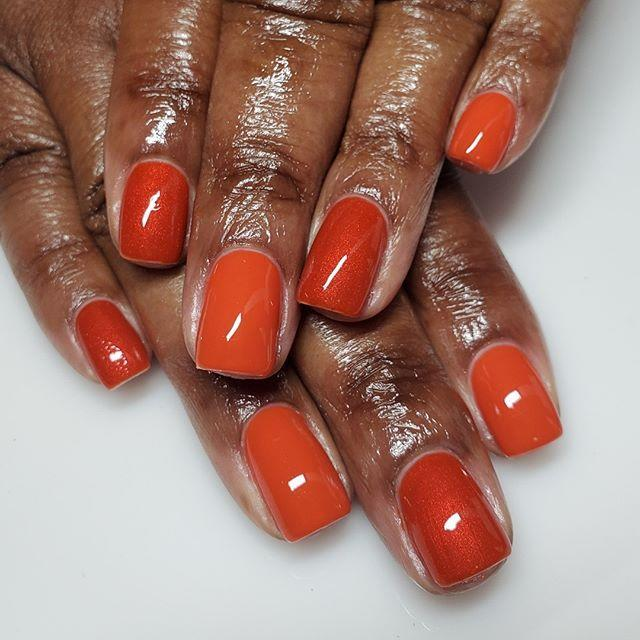 """<p>The subtle variations in orange tones and shimmer/creme textures absolutely count as nail art, in our opinion. File your nails into sleek square shapes to go the extra mile. </p><p><a href=""""https://www.instagram.com/p/B5DyajaHcxK/"""" rel=""""nofollow noopener"""" target=""""_blank"""" data-ylk=""""slk:See the original post on Instagram"""" class=""""link rapid-noclick-resp"""">See the original post on Instagram</a></p>"""