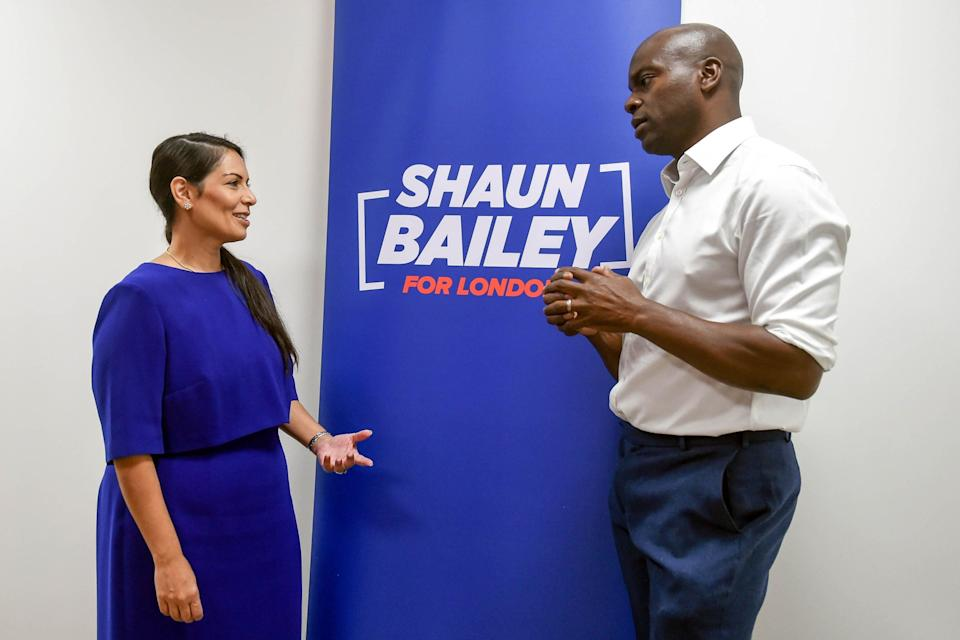 Mr Bailey with Home Secretary Priti Patel (Pete Maclaine/Parsons Media)