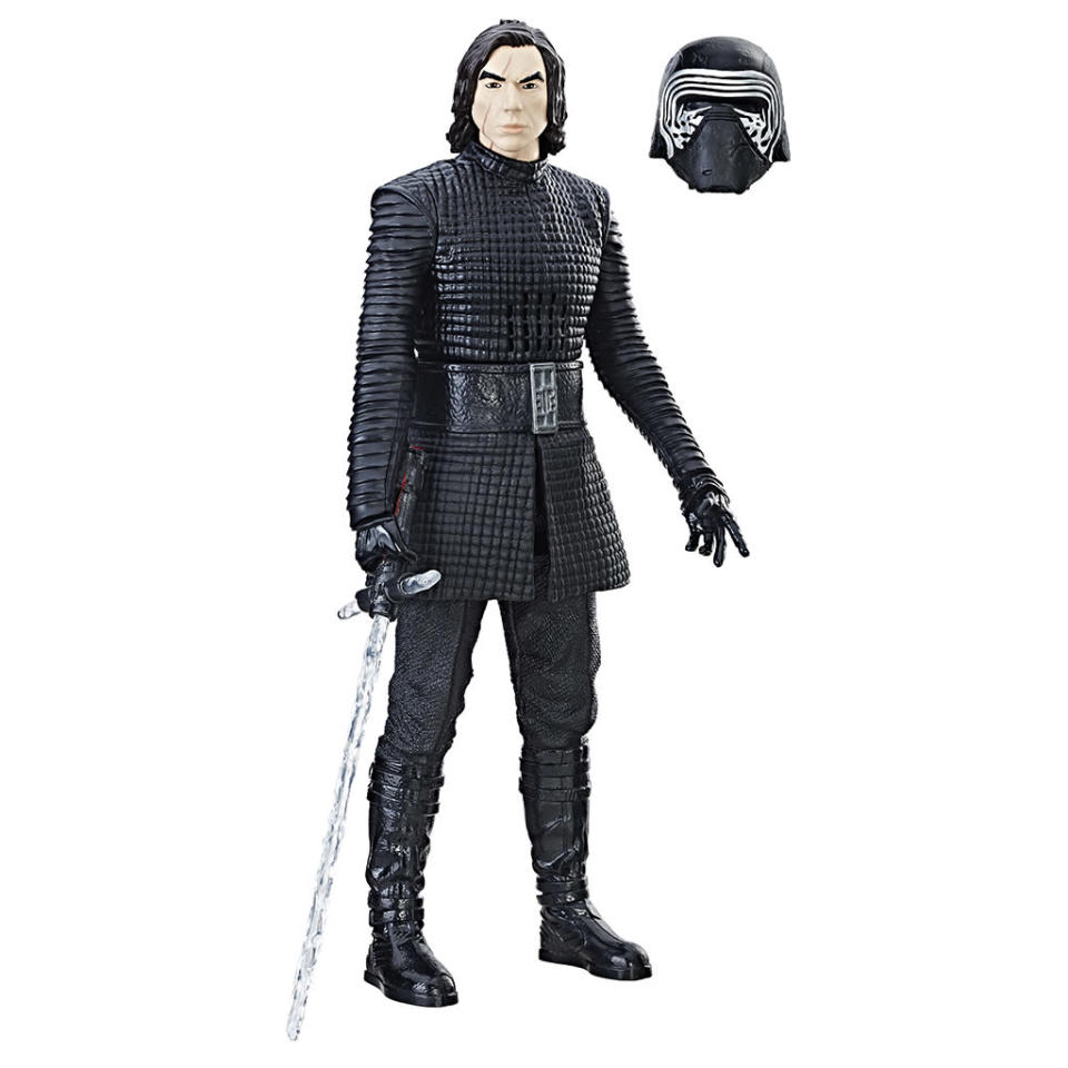 """<p>""""Step over to the Dark Side with the 12-Inch Interactech Kylo Ren figure that responds to how you play! This dark warrior features more than 65 light and sound effects, bringing Kylo Ren to life right in front of your eyes."""" $29.99 (Photo: Hasbro) </p>"""