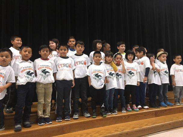PHOTO: When third-grade teacher Margaret Olivarez noticed the kids at Copperfield Elementary School in Texas, didn't have shirts to wear on college t-shirt day, she asked universities across the nation to donate them. (Pflugerville ISD )