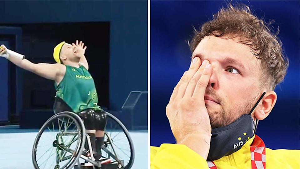 Dylan Alcott (pictured left) celebrating after winning the Paralympic wheelchair tennis gold medal and (pictured right) crying during the medal ceremony.
