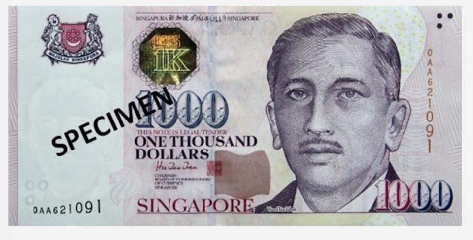 Singapore will stop issuing its $1,000 note from 1 January 2021. (PHOTO: Monetary Authority of Singapore)