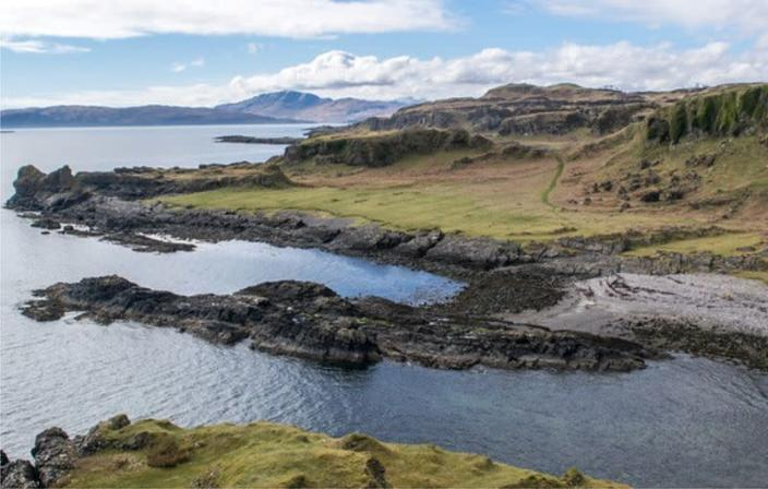 Coastline of Kerrera where a fossil was found