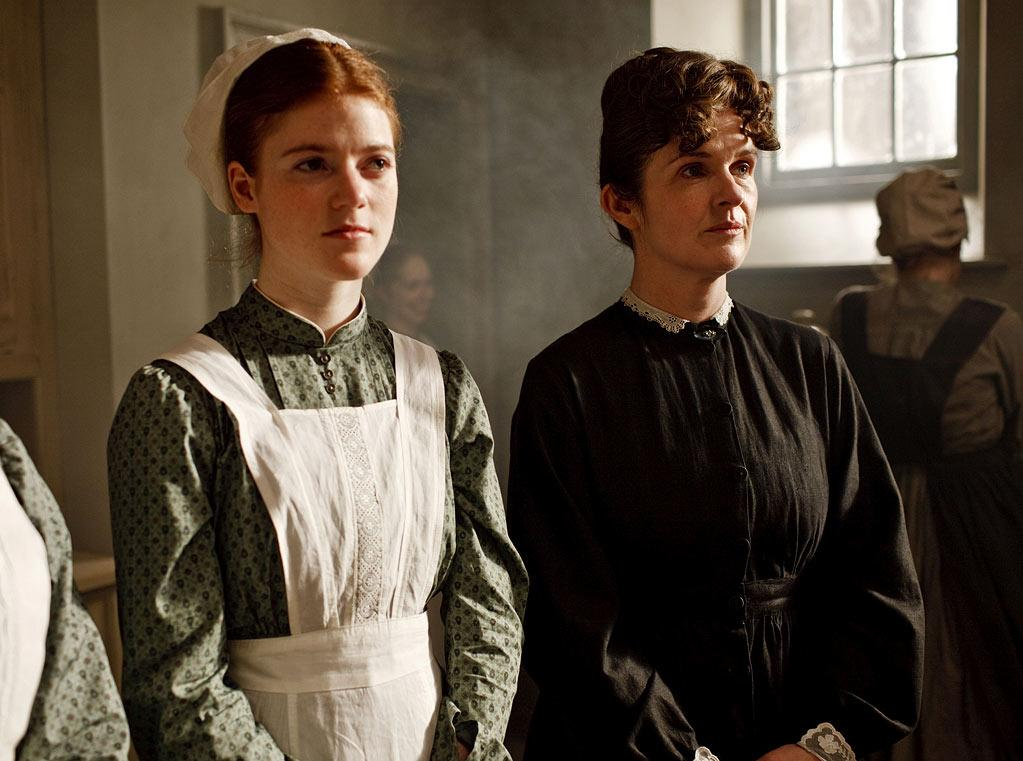 """Rose Leslie as Gwen and Siobhan Finneran as O'Brien in """"Downton Abbey."""""""