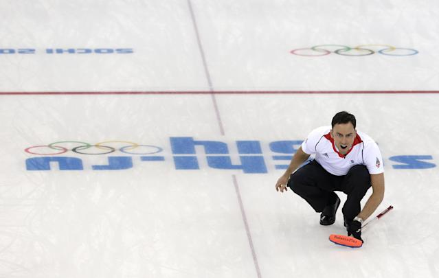 Britain's skip David Murdoch shouts during the men's curling competition against Canada at the 2014 Winter Olympics, Saturday, Feb. 15, 2014, in Sochi, Russia. (AP Photo/Wong Maye-E)