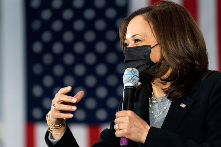 <p>A conservative gripe that a book by Kamala Harris was being distributed at migrant shelters was untrue, a new report says</p> (AP)