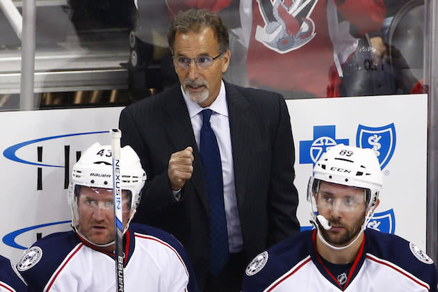 "<a class=""link rapid-noclick-resp"" href=""/nhl/teams/cob/"" data-ylk=""slk:Columbus Blue Jackets"">Columbus Blue Jackets</a> head coach John Tortorella stands behind his bench during the first period of an exhibition NHL hockey game against the <a class=""link rapid-noclick-resp"" href=""/nhl/teams/pit/"" data-ylk=""slk:Pittsburgh Penguins"">Pittsburgh Penguins</a> in Pittsburgh, Saturday, Oct. 8, 2016. (AP Photo/Gene J. Puskar)"