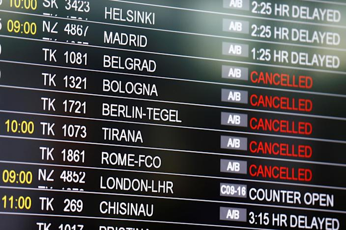 <p>A board shows status of flights at Turkey's largest airport, Istanbul Ataturk, Turkey, following yesterday's blasts June 29, 2016. (REUTERS/Osman Orsal) </p>