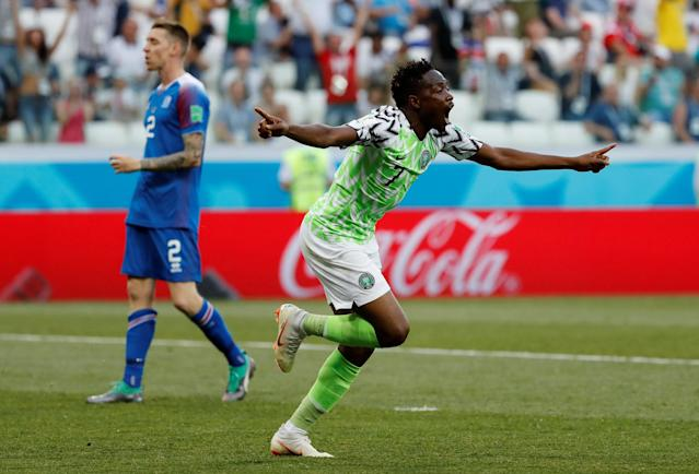 Soccer Football - World Cup - Group D - Nigeria vs Iceland - Volgograd Arena, Volgograd, Russia - June 22, 2018 Nigeria's Ahmed Musa celebrates scoring their first goal REUTERS/Toru Hanai TPX IMAGES OF THE DAY
