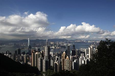 The Hong Kong skyline is seen from the Peak June 18, 2013.