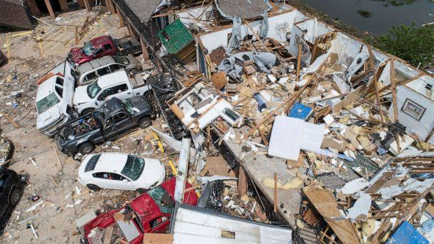 PHOTO: Damage to the American Budget Value Inn is seen in an aerial photo, May 26, 2019, after it was hit by a tornado in El Reno, Okla. (Richard Rowe/Reuters)