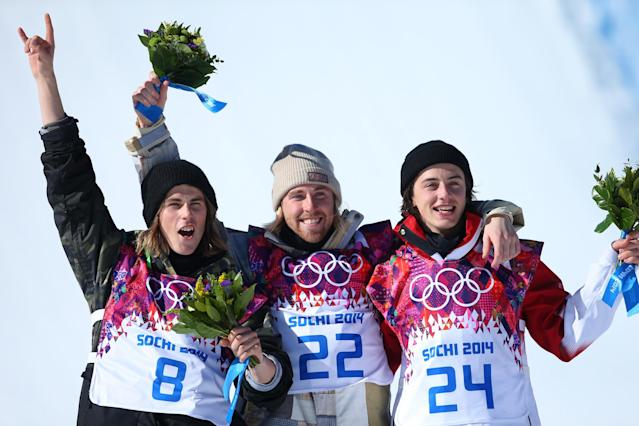 SOCHI, RUSSIA - FEBRUARY 08: (L-R) Silver medalist Staale Sandbech of Norway, gold medalist Sage Kotsenburg of the United States and bronze medalist Mark McMorris of Canada pose on the podium during the flower ceremony following the Snowboard Men's Slopestyle Final during day 1 of the Sochi 2014 Winter Olympics at Rosa Khutor Extreme Park on February 8, 2014 in Sochi, Russia. (Photo by Julian Finney/Getty Images)