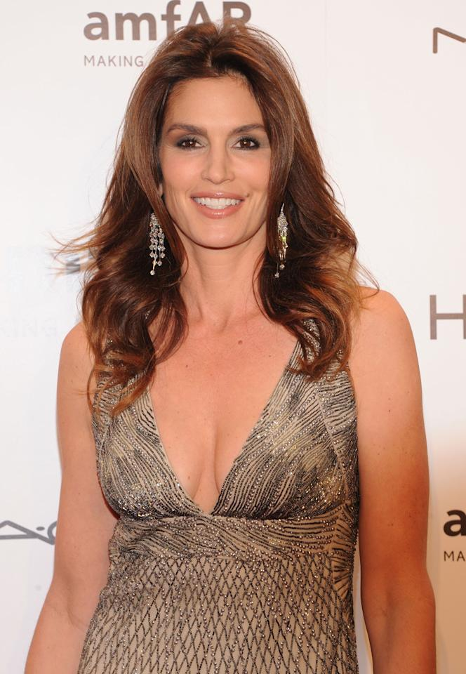 Model Cindy Crawford attends the amfAR New York Gala To Kick Off Fall 2012 Fashion Week Presented By Hublot at Cipriani Wall Street on February 8, 2012 in New York City.  (Photo by Jason Kempin/WireImage)