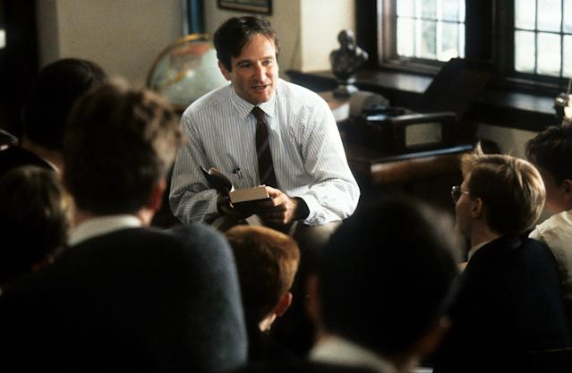 Robin Williams teaching a class in a scene from the film 'Dead Poets Society', 1989. (Photo by Touchstone Pictures/Getty Images)