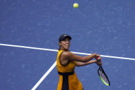 Madison Keys, of the United States, returns a shot to Sloane Stephens, of the United States, during the first round of the US Open tennis championships, Monday, Aug. 30, 2021, in New York. (AP Photo/Seth Wenig)