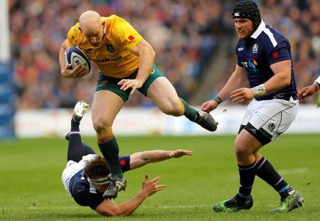 FILE PHOTO - Britain Rugby Union - Scotland v Australia - Murrayfield, Edinburgh, Scotland - 12/11/16 Captain Stephen Moore of Australia in action.    Action Images via Reuters / Lee Smith/File Photo