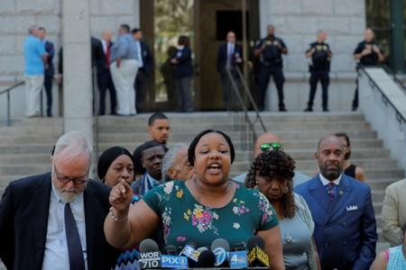 Emerald Garner speaks to the media after a meeting with Justice Department officials about their decision to not prosecute NYPD officer Daniel Pantaleo in New York