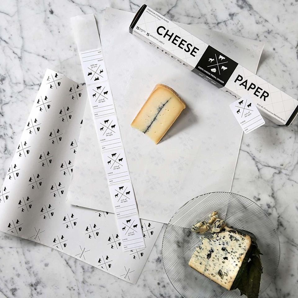 """This is guaranteed to keep your cheddar sharp, your Parmesan poppin', and your Brie better. The paper breathes just the right amount, maintaining the perfect humidity and mimicking the environment that cheese is aged in.<br /><br /><strong>Promising review:</strong>""""Before I bought this cheese paper I would do the cheese search in the refrigerator. After buying cheeses, opening them, and then rewrapping them in heaven knows what (namely plastic wrap, aluminum foil, and plastic containers), it was always the same result: moldy cheese. This box contains the paper in sheets plus some stickers that you can write on with the name of the cheese and the date it was wrapped or even sell by date. There are also pictures of a sheep, cow, and goat so the source can be identified by circling or checking one of them! What I also like is that the cheeses can be rewrapped after use and amazingly the stickers still stick! The paper can also be cut to size to wrap smaller cheeses.<strong>So far I have noted that the cheeses have stayed fresh with not a trace of mold.</strong>I highly recommend this product to all cheese lovers!"""" —<a href=""""https://www.amazon.com/dp/B002I47P40?tag=huffpost-bfsyndication-20&ascsubtag=5883859%2C19%2C54%2Cd%2C0%2C0%2C0%2C962%3A1%3B901%3A2%3B900%3A2%3B974%3A3%3B975%3A2%3B982%3A2%2C16464314%2C0"""" target=""""_blank"""" rel=""""noopener noreferrer"""">Prairie Woman</a><br /><br /><strong>Get a package of 15 11""""x14"""" sheets of cheese paper from Amazon for<a href=""""https://www.amazon.com/dp/B002I47P40?tag=huffpost-bfsyndication-20&ascsubtag=5883859%2C19%2C54%2Cd%2C0%2C0%2C0%2C962%3A1%3B901%3A2%3B900%3A2%3B974%3A3%3B975%3A2%3B982%3A2%2C16464314%2C0"""" target=""""_blank"""" rel=""""noopener noreferrer"""">$14</a>(also available in larger packs).</strong>"""